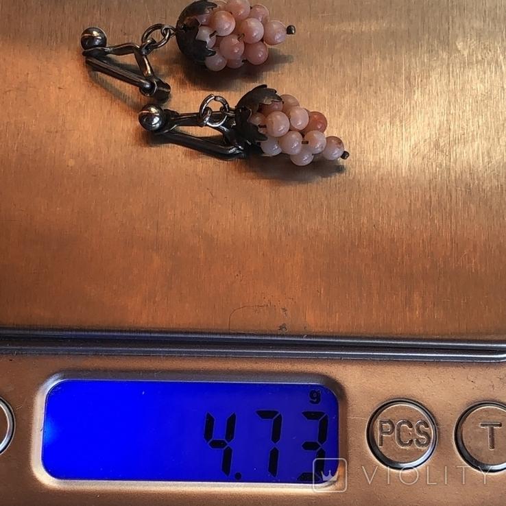 Серебряные клипсы «Виноград» с кораллом, Италия, фото №11
