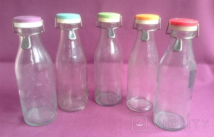Бутылки молочные с крышками.  Стекло., фото №2