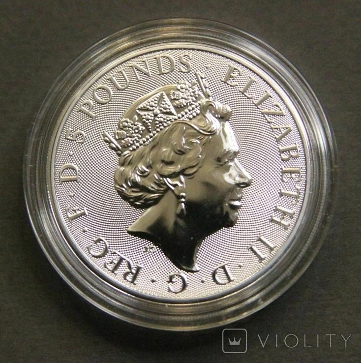 2021 г - 5 фунтов Великобритания,Белая Борзая  Ричмонда, 2 унции серебра в капсуле, фото №3