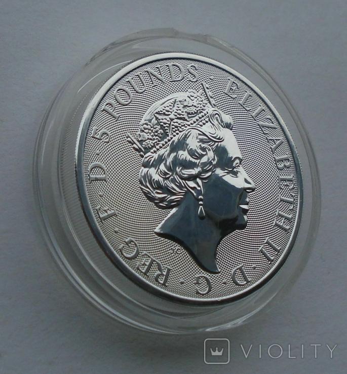 2021 г - 5 фунтов Великобритания,Белая Борзая  Ричмонда, 2 унции серебра в капсуле, фото №4