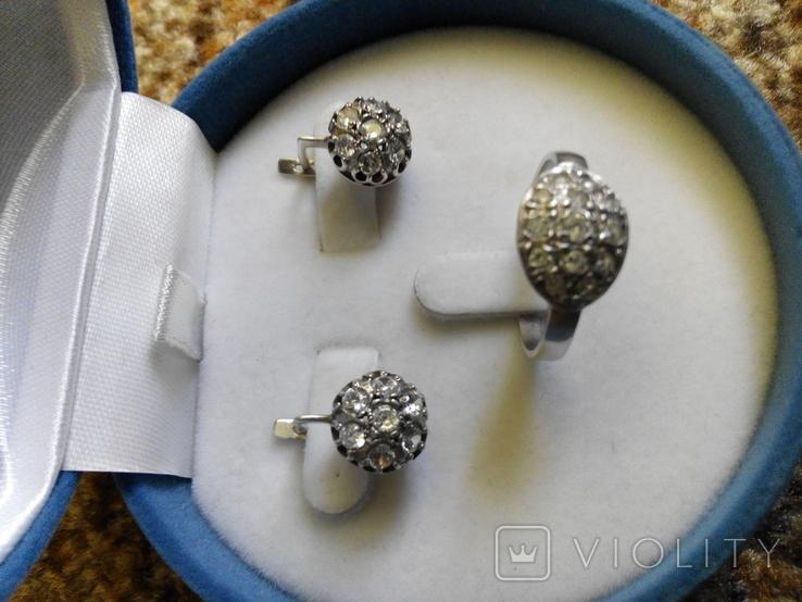 Серебряный комплект кольцо и серьги с камнями, фото №2