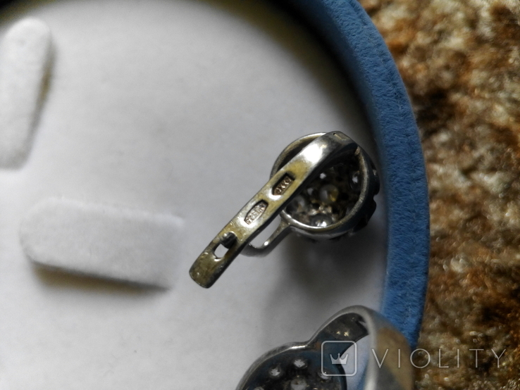 Серебряный комплект кольцо и серьги с камнями, фото №5