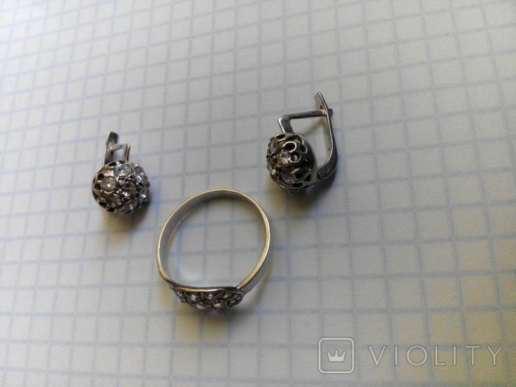Серебряный комплект кольцо и серьги с камнями, фото №6