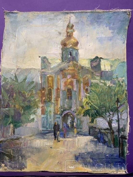 Картина. Церковь, храм, собор, вход в Лавру. Холст, масло. Размер 40*50 см, фото №3