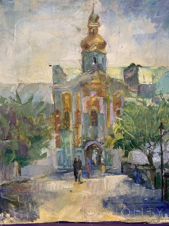 Картина. Церковь, храм, собор, вход в Лавру. Холст, масло. Размер 40*50 см, фото №4
