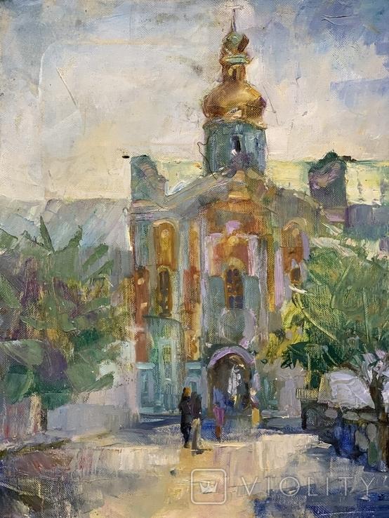 Картина. Церковь, храм, собор, вход в Лавру. Холст, масло. Размер 40*50 см, фото №2