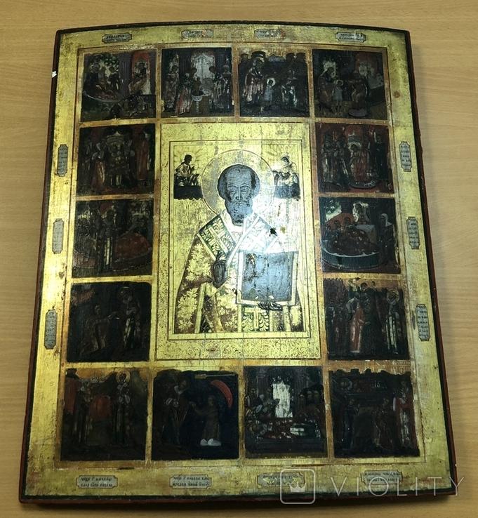 Икона Св. Николая с житием.