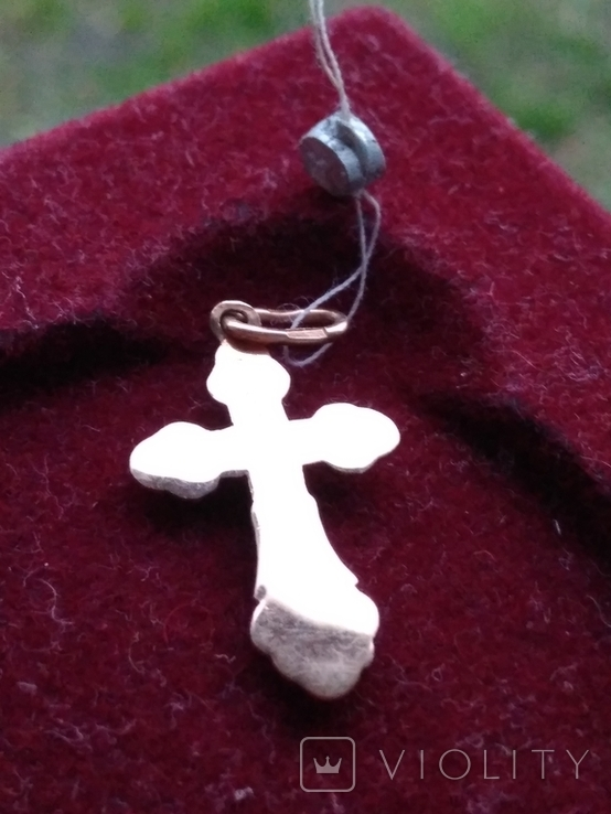 Золотой крест крестик Золотий хрест хрестик кулон з пробою, фото №6