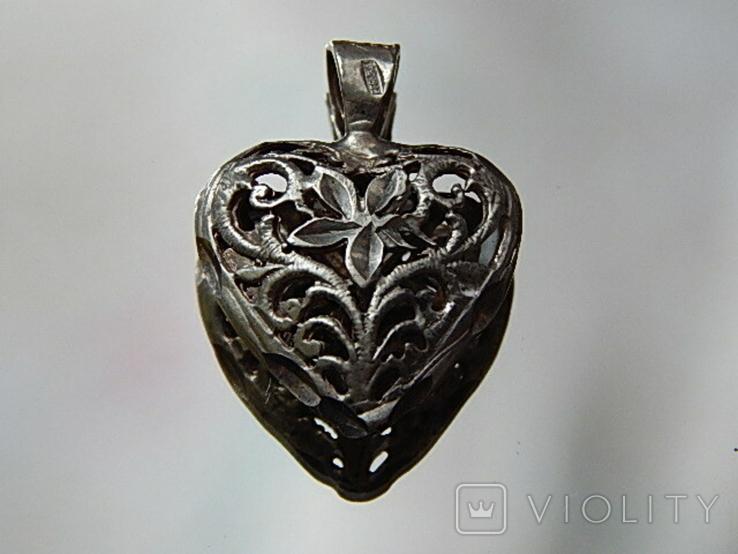 Кулон сердечко серебро, фото №2