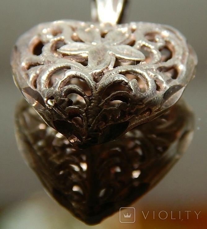 Кулон сердечко серебро, фото №5