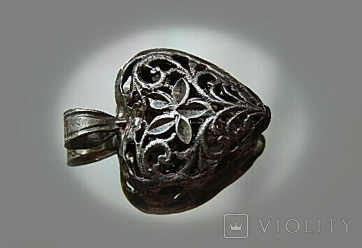 Кулон сердечко серебро, фото №7