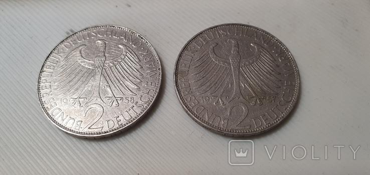 Германия 2 марки, 1957-1971 Макс Планк, фото №2