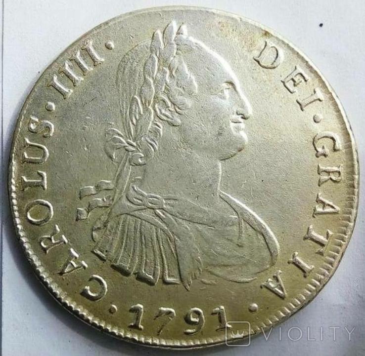 8 реалів 1791 року DA -  Іспанське Чилі /срібло/, фото №2