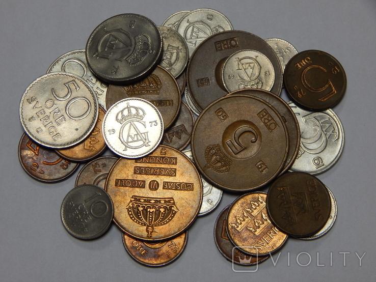 Лот 30 монет Швеции