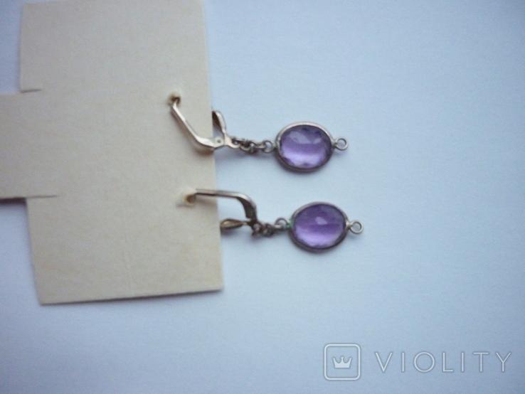 Набор - ожерелье и серьги с аметистами серебро 925 проба аметист, фото №5