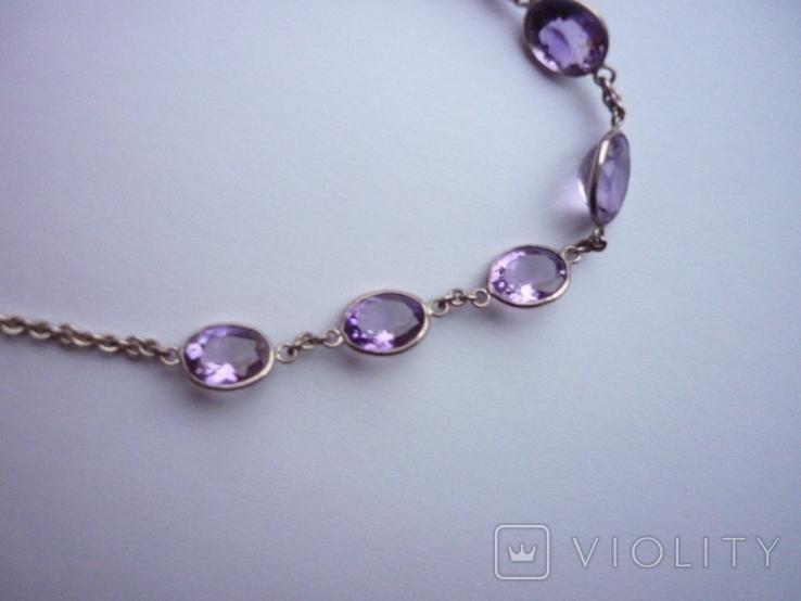Набор - ожерелье и серьги с аметистами серебро 925 проба аметист, фото №8