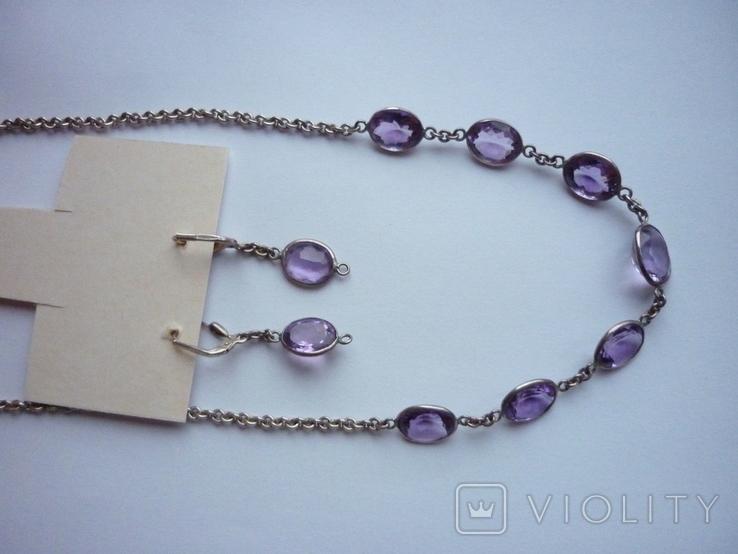 Набор - ожерелье и серьги с аметистами серебро 925 проба аметист, фото №9
