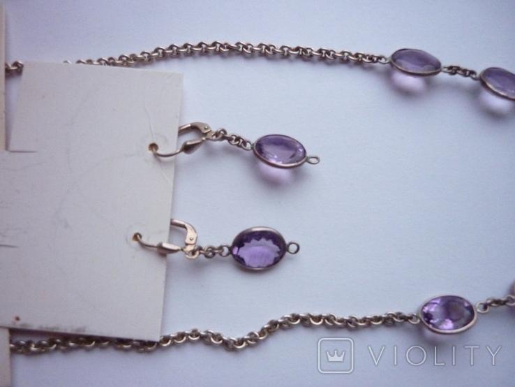 Набор - ожерелье и серьги с аметистами серебро 925 проба аметист, фото №12