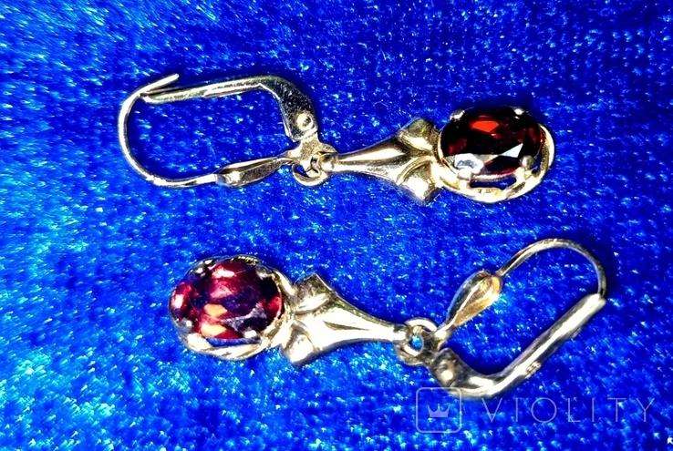 Комплект кольцо и серьги  золото. гранаты., фото №4