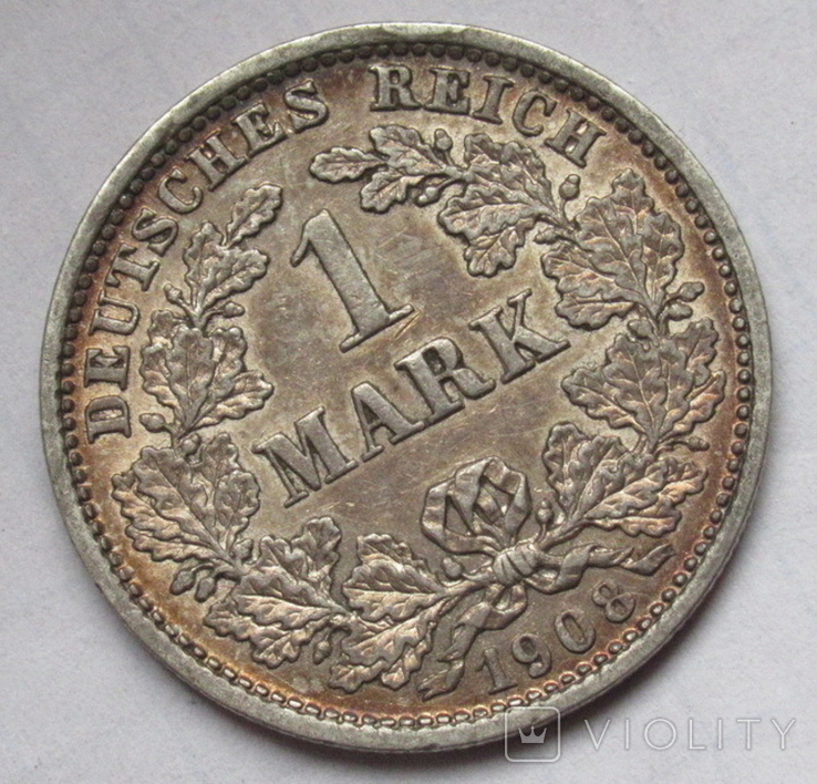 1 марка 1908 г. (D) Германия, серебро, фото №2