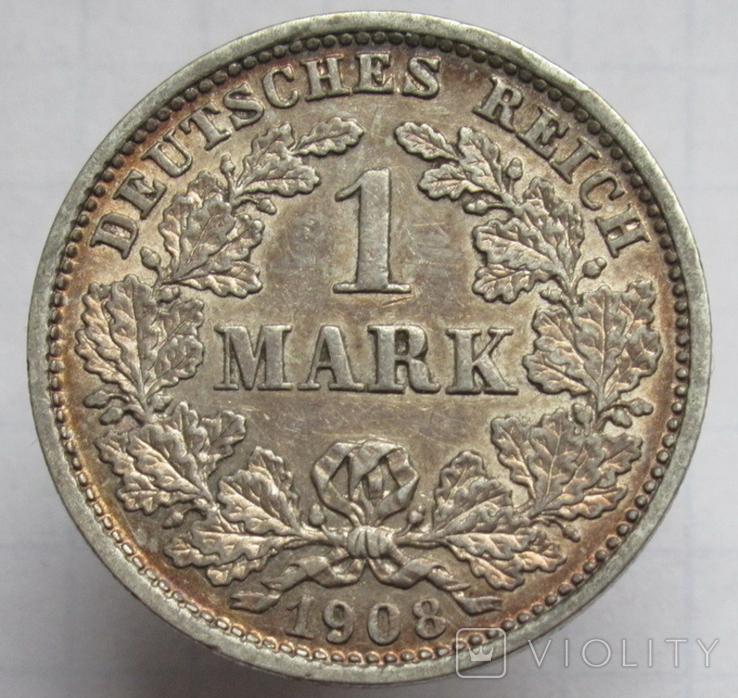 1 марка 1908 г. (D) Германия, серебро, фото №4