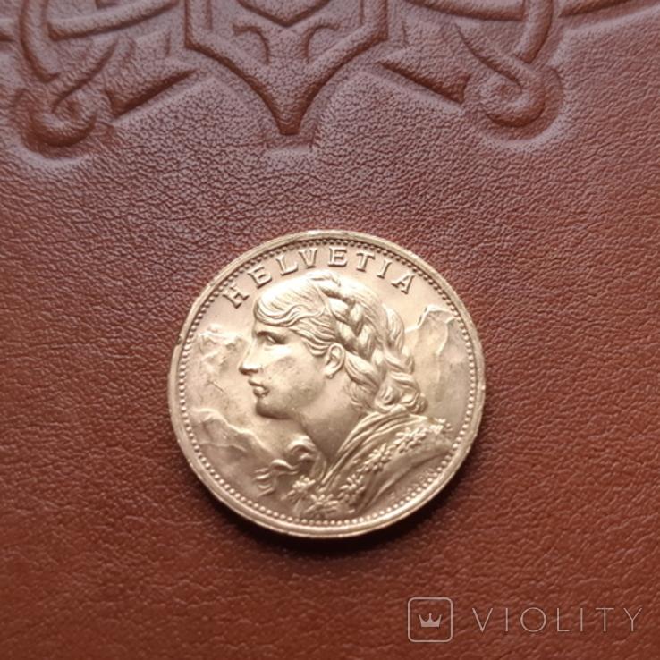 Золото. Швейцария20франков1947