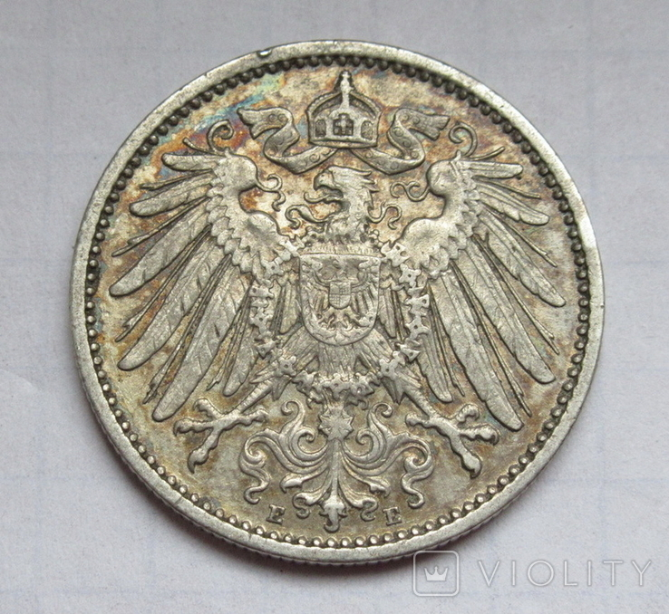 1 марка 1907 г. (Е) Германия, серебро, фото №4