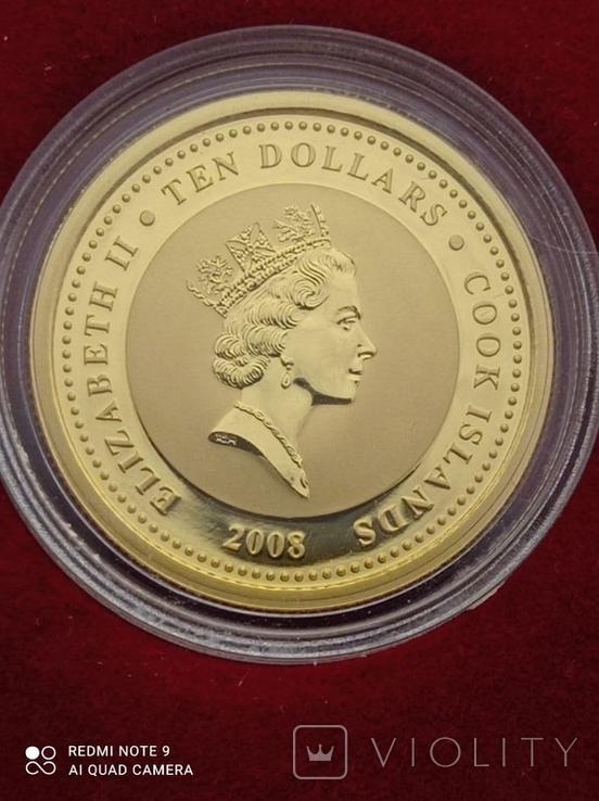 10 долларов 2008 Острова Кука 1/4 oz 999,9 тираж 12000, фото №7