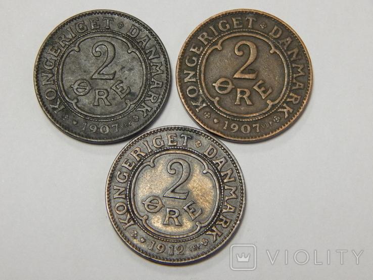 3 монеты по 2 оре, Дания, 1907/12 г.г., фото №2
