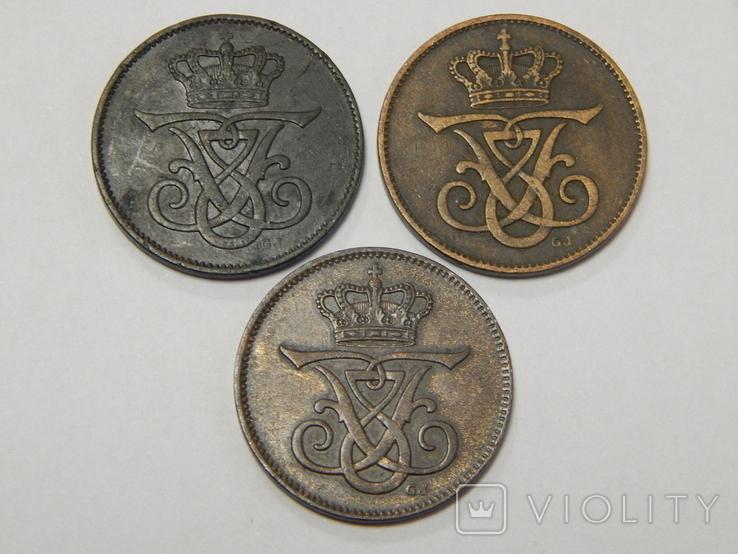 3 монеты по 2 оре, Дания, 1907/12 г.г., фото №3