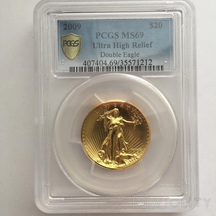 Ультра-рельефный двойной орёл 2009 г. 20 США золото 999.9 -31.1 гр., фото №2