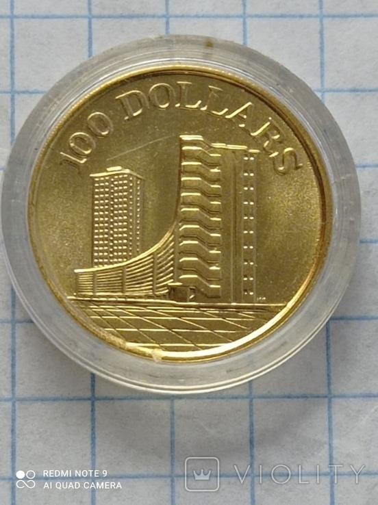 100 долларов 1975 Сингапур золото 6,91 гр. 900 (0,2 oz), фото №2
