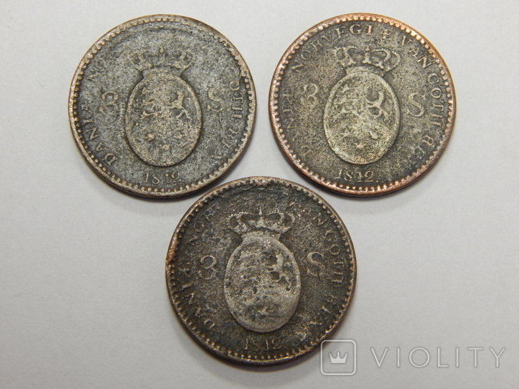 3 монеты по 3 скиллинга, Дания, фото №2