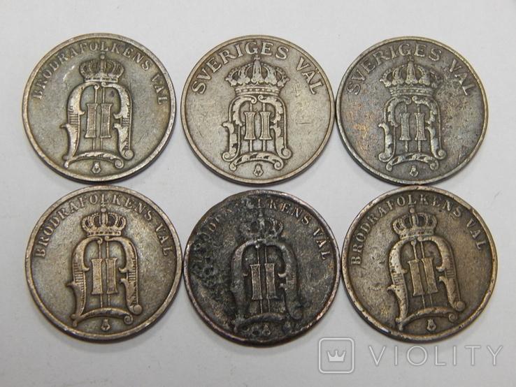 6 монет по 2 оре, Швеция, фото №3