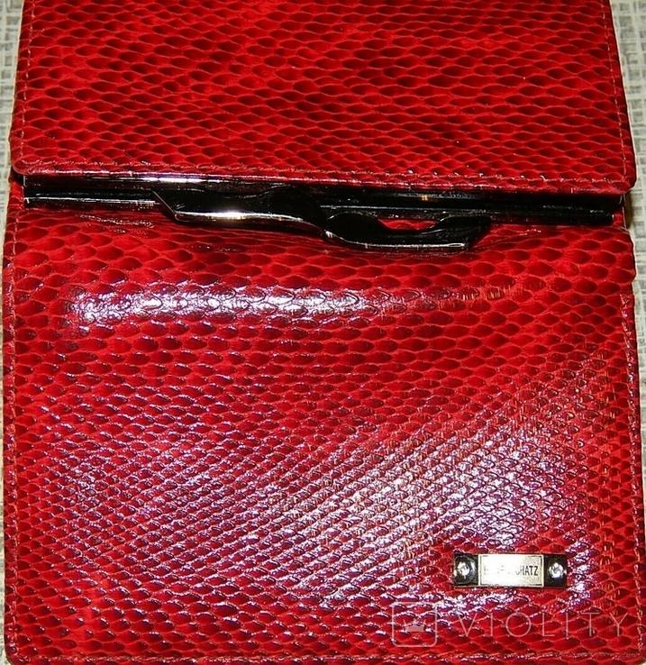 Кожаный красный кошелек, фото №6