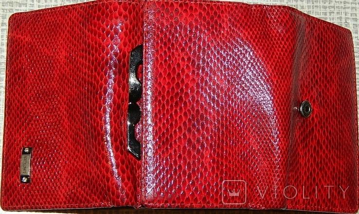 Кожаный красный кошелек, фото №7