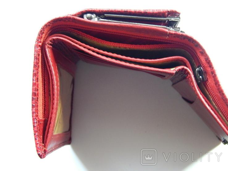 Кожаный красный кошелек, фото №10