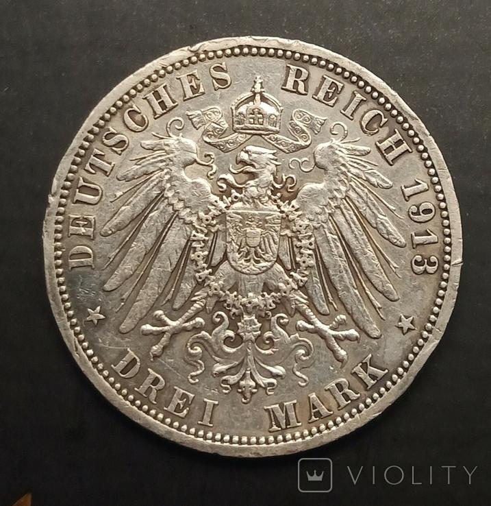 3 марки 1913 р. Пруссія. Вільгельм ІІ в мундирі, фото №6
