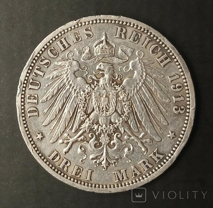 3 марки 1913 р. Пруссія. Вільгельм ІІ в мундирі, фото №7