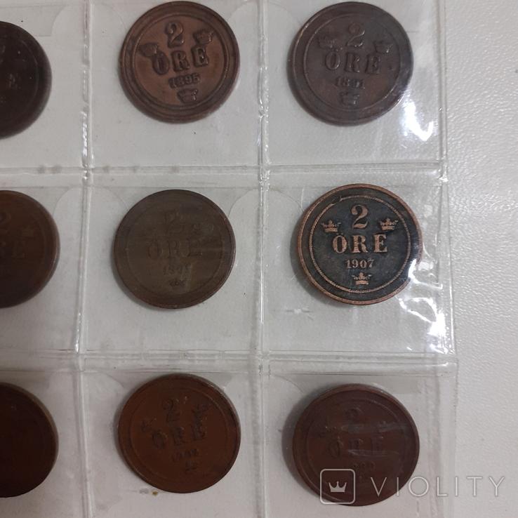 20 монет Швеції по 2 оре 1881-1907 роки, фото №4