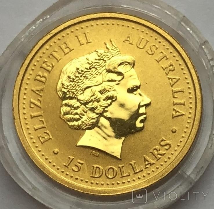 15 долларов 2004 года. Год обезьяны. 1/10 унции, фото №3
