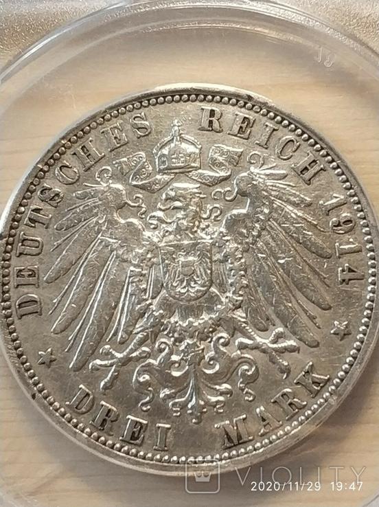 3 Марки 1914 Мундир, Пруссия. Слаб., фото №4