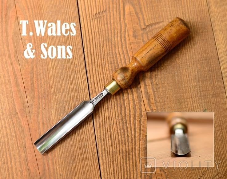 T.Wales & Sons England Винтажная полукруглая стамеска шириной 22мм