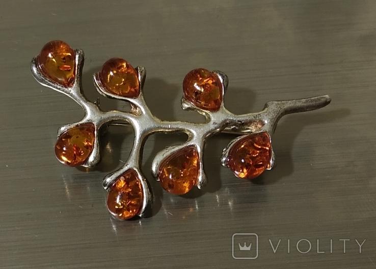 Винтажные серебряные сережки, кулон и брошь во вставками янтарного цвета, фото №5