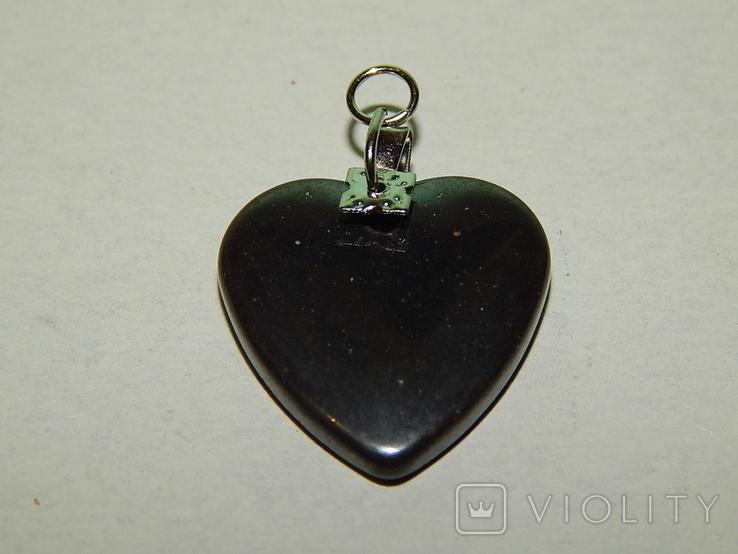 Кулон сердечко из черного нефрита, фото №4