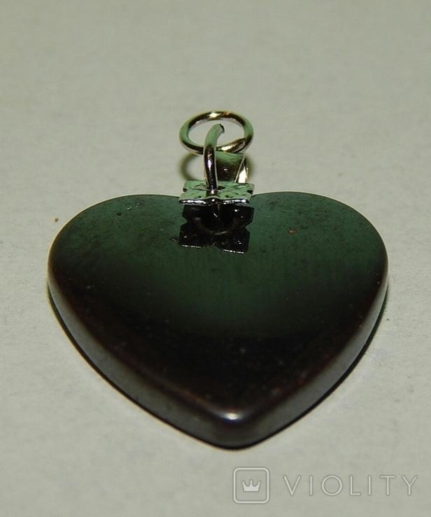 Кулон сердечко из черного нефрита, фото №5