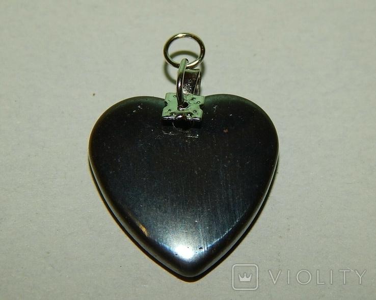 Кулон сердечко из черного нефрита, фото №6