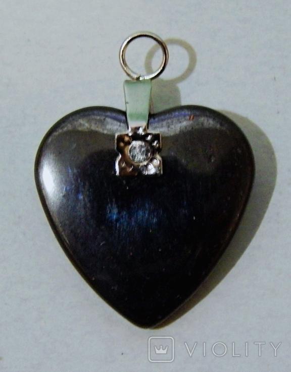 Кулон сердечко из черного нефрита, фото №7