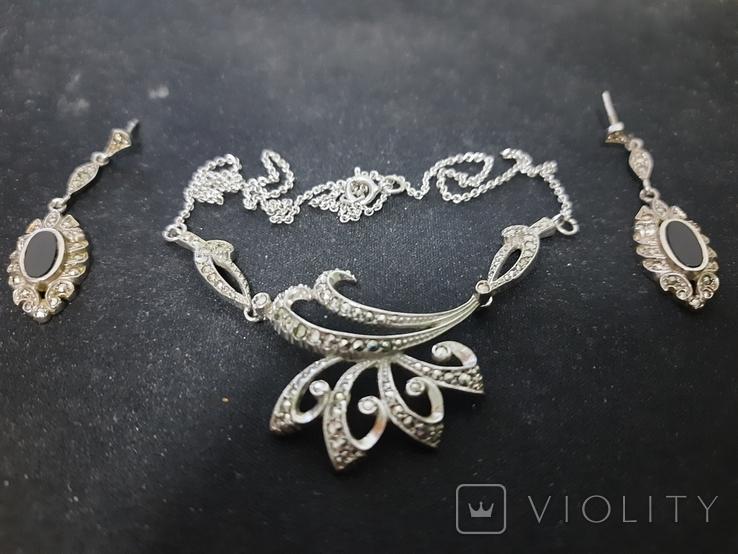 Набор серебро подвеска (кулон) и сережки Винтаж, фото №2