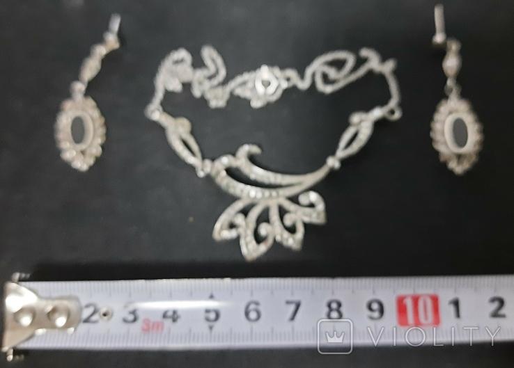 Набор серебро подвеска (кулон) и сережки Винтаж, фото №4